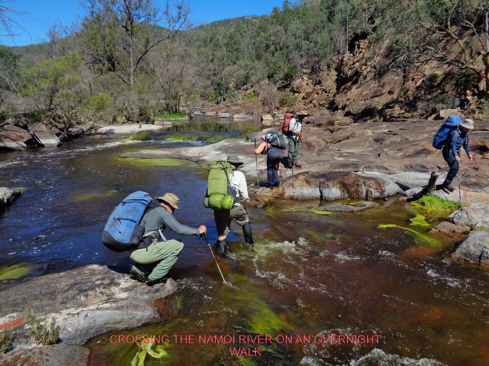CROSSING THE NAMOI RIVER ON AN OVERNIGHT WALK