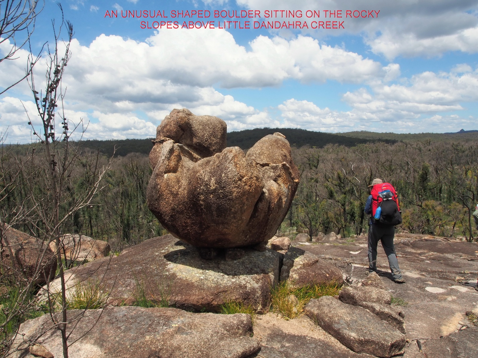 AN UNUSUAL SHAPED BOULDER SITTING ON THE ROCKY SLOPES ABOVE LITTLE DANDAHRA CREEK