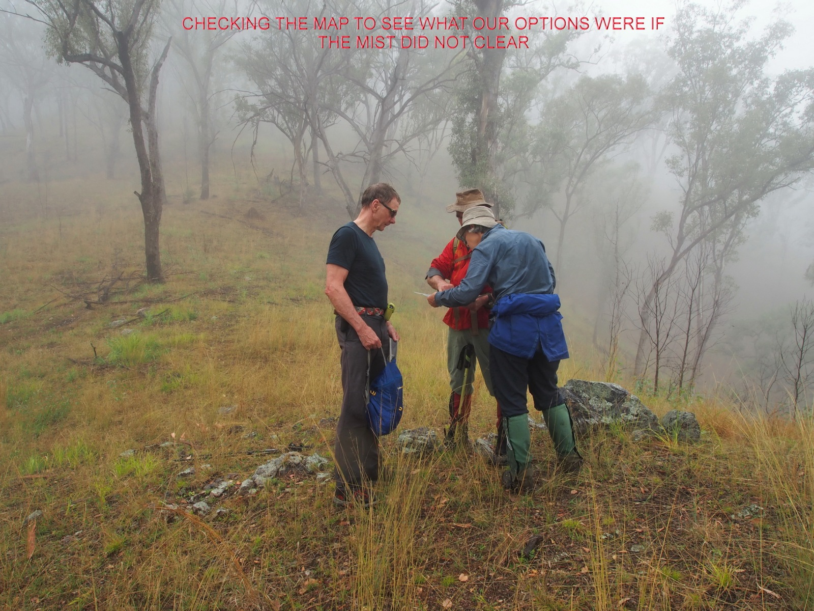 CHECKING THE MAP TO SEE WHAT OUR OPTIONS WERE IF THE MIST DID NOT CLEAR
