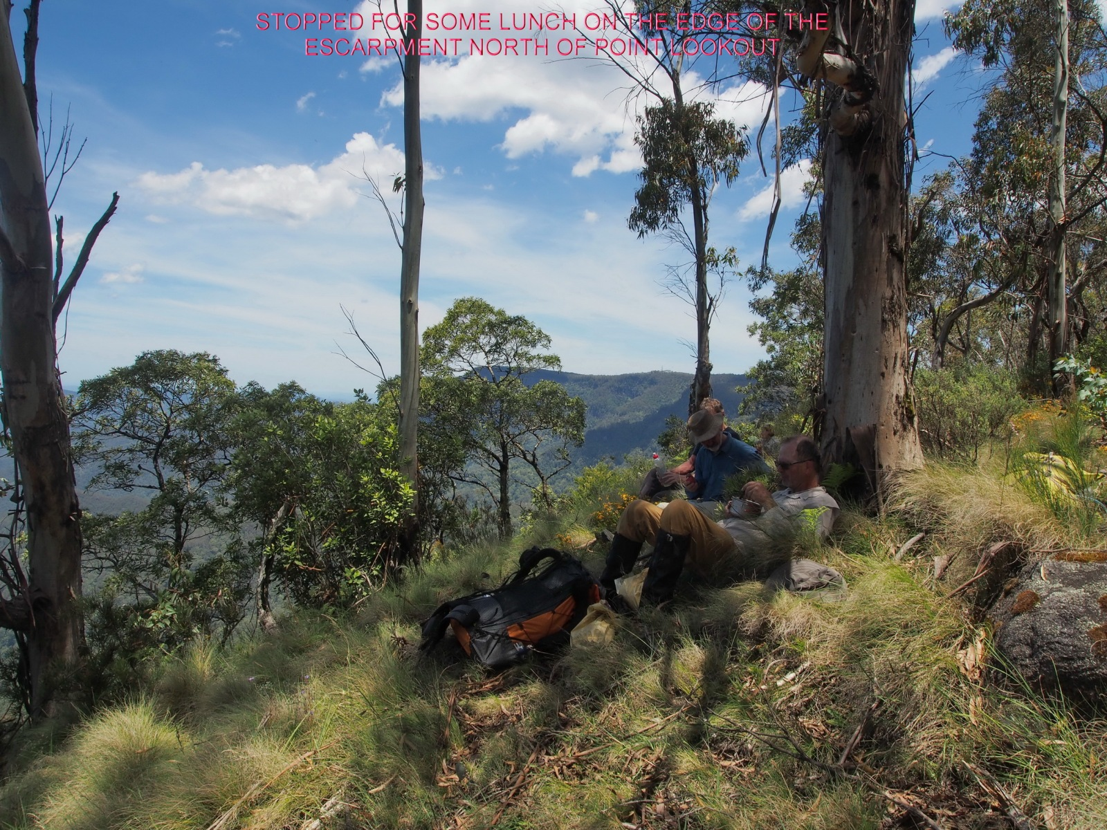STOPPED FOR SOME LUNCH ON THE EDGE OF THE ESCARPMENT NORTH OF POINT LOOKOUT