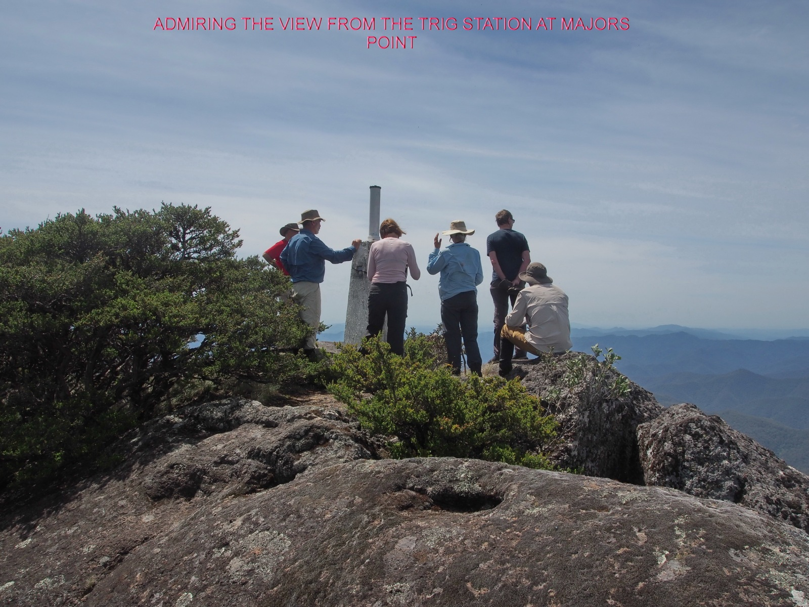 ADMIRING THE VIEW FROM THE TRIG STATION AT MAJORS POINT