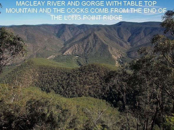 MACLEAY RIVER AND GORGE WITH TABLE TOP MOUNTAIN AND THE COCKS COMB FROM THE RIDGE AT GR 020938